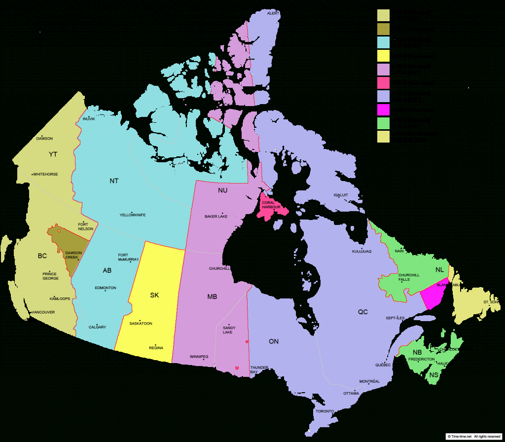 Canada Time Zone Map - With Provinces - With Cities - With Clock - Canada Time Zone Map Printable