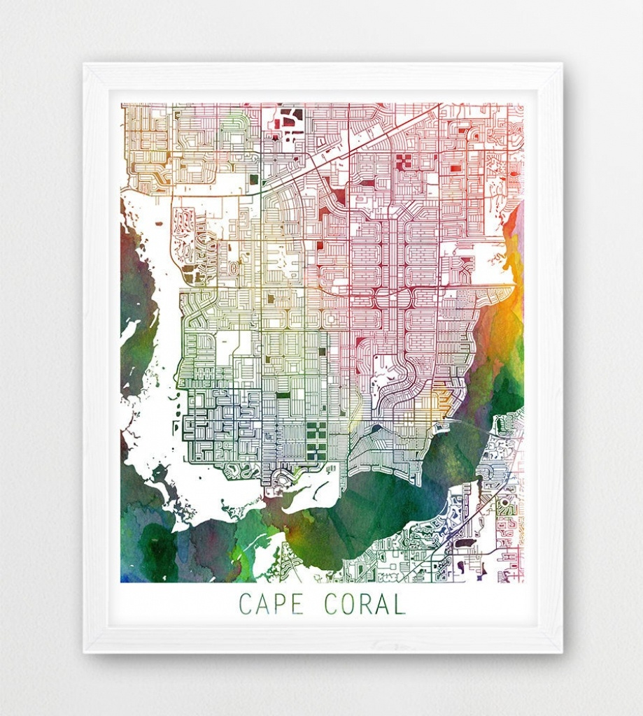 Cape Coral City Urban Map Poster Cape Coral Street Print | Etsy - Street Map Of Cape Coral Florida