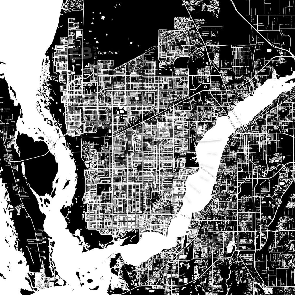 Cape Coral, Florida, Downtown Map, Dark | Hebstreits Sketches - Street Map Of Cape Coral Florida