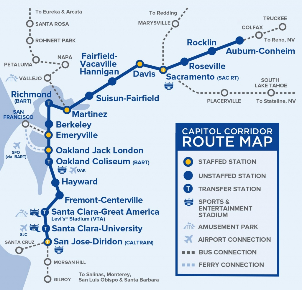 Capital Corridor Train Route Map For Northern California - Amtrak California Map