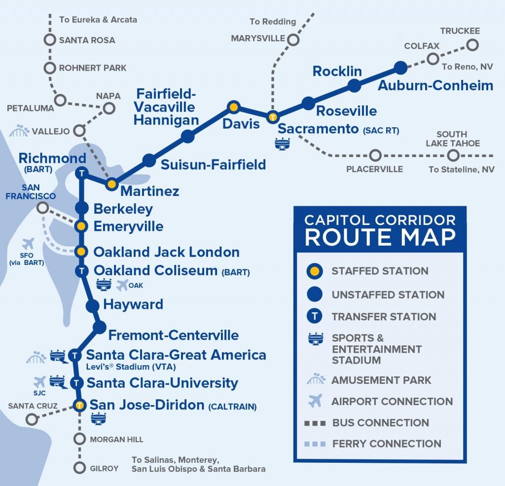 Capital Corridor Train Route Map For Northern California - Amtrak Route Map California