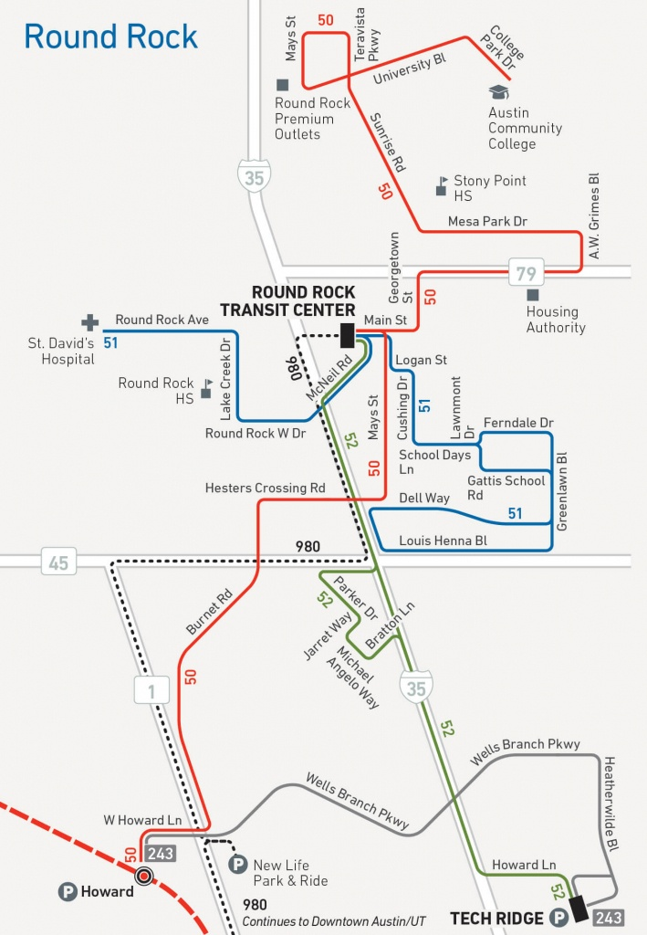 Capital Metro Service Begins In Round Rock Aug. 21 - Austin Texas Public Transportation Map