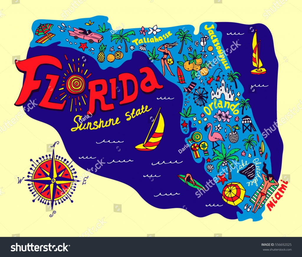 Cartoon Map Florida State Travel Attractions Stock Vector (Royalty - Florida Cartoon Map