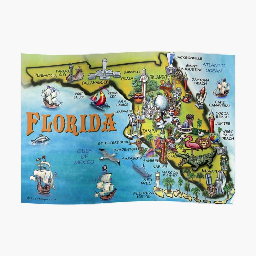 Cartoon Map Of Florida | Poster - Florida Cartoon Map