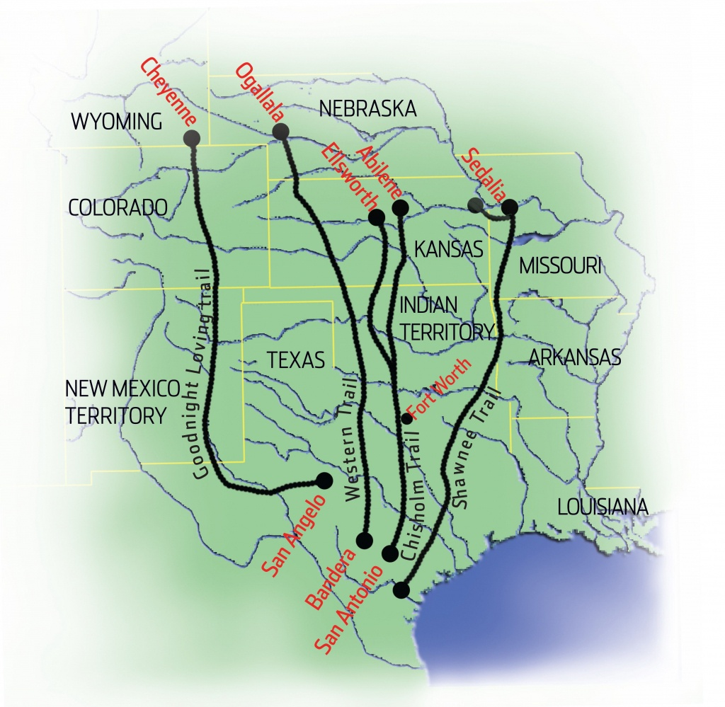 Cattle Drives Map | Cattle Drives | Cattle Drive, Teaching History - Texas Cattle Trails Map