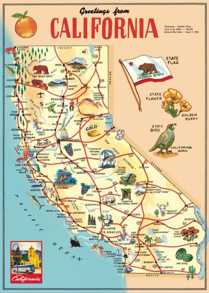 Cavallini & Co. California Map Decorative Paper Sheet   Vintage - California Sightseeing Map