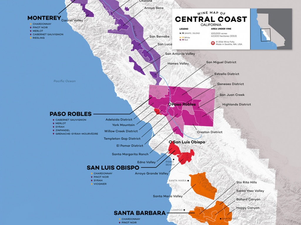 Central Coast Wine: The Varieties And Regions   Wine Folly - Central California Wine Country Map