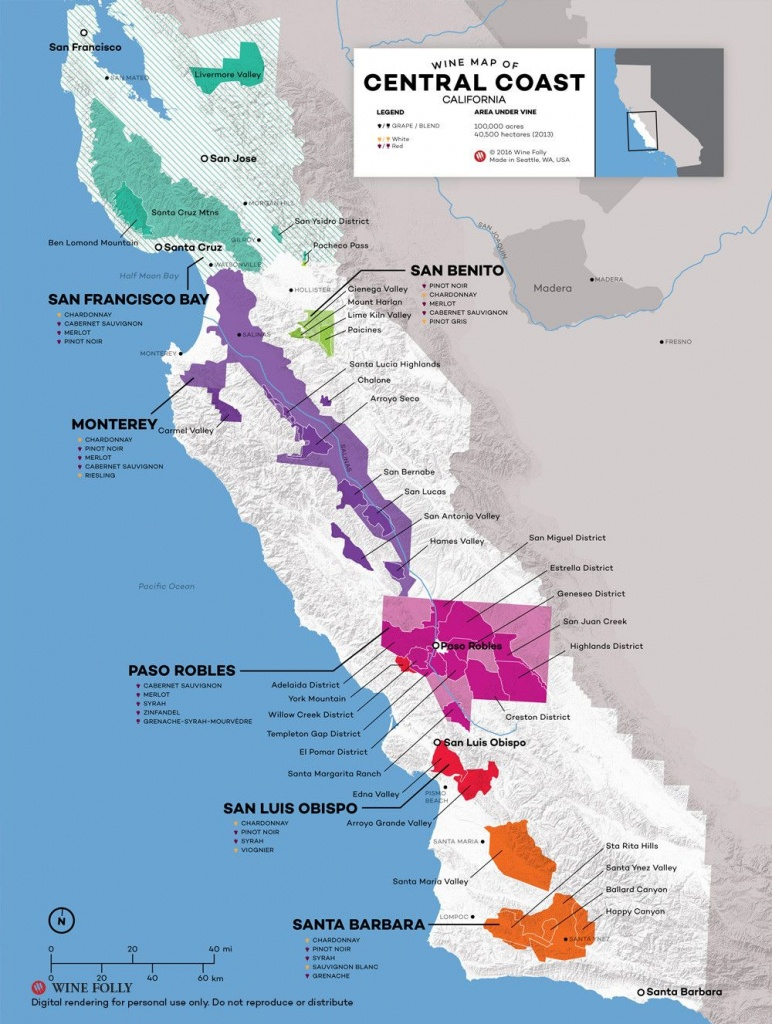 Central Coast Wine: The Varieties And Regions | Wine Maps - Map Of Northern California Wineries