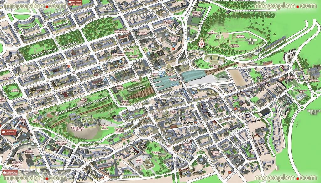 Central Edinburgh Scotland Visitors 3D Interactive Printable Inner - Edinburgh Street Map Printable