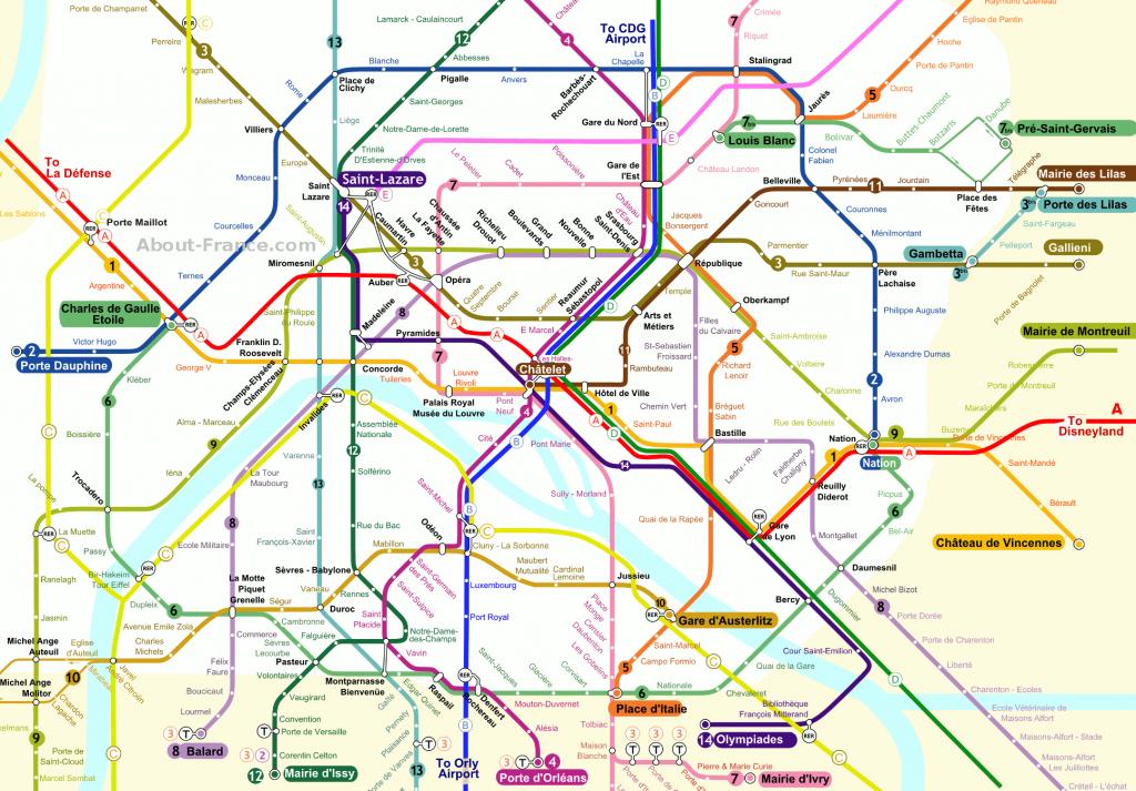 Central Paris Metro Map - About-France - Printable Paris Metro Map
