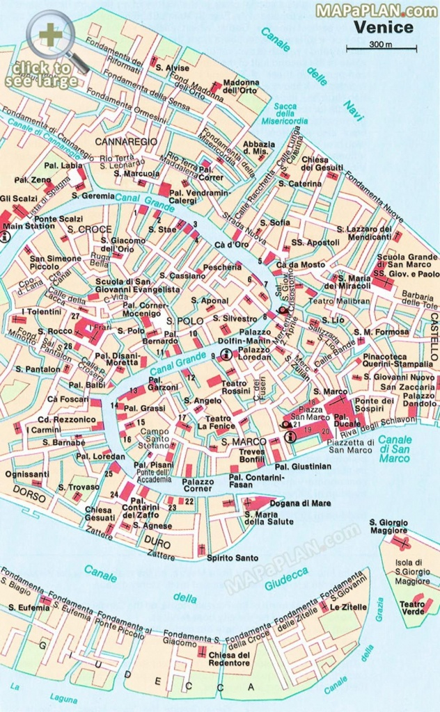 Central Venice Most Popular Historical Sights Venice Top Tourist - Printable Walking Map Of Venice Italy