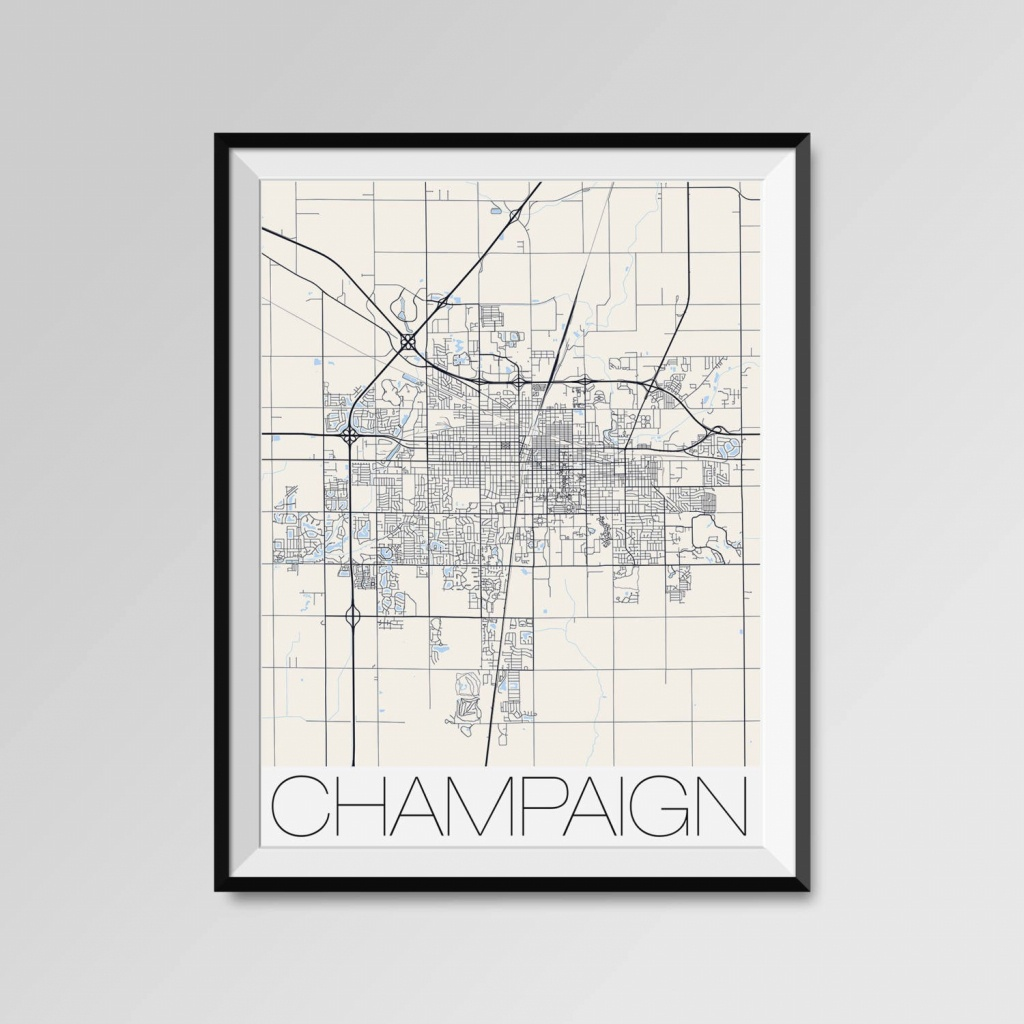 Champaign Illinois Map Champaign City Map Print Champaign   Etsy - Printable Map Of Champaign Il