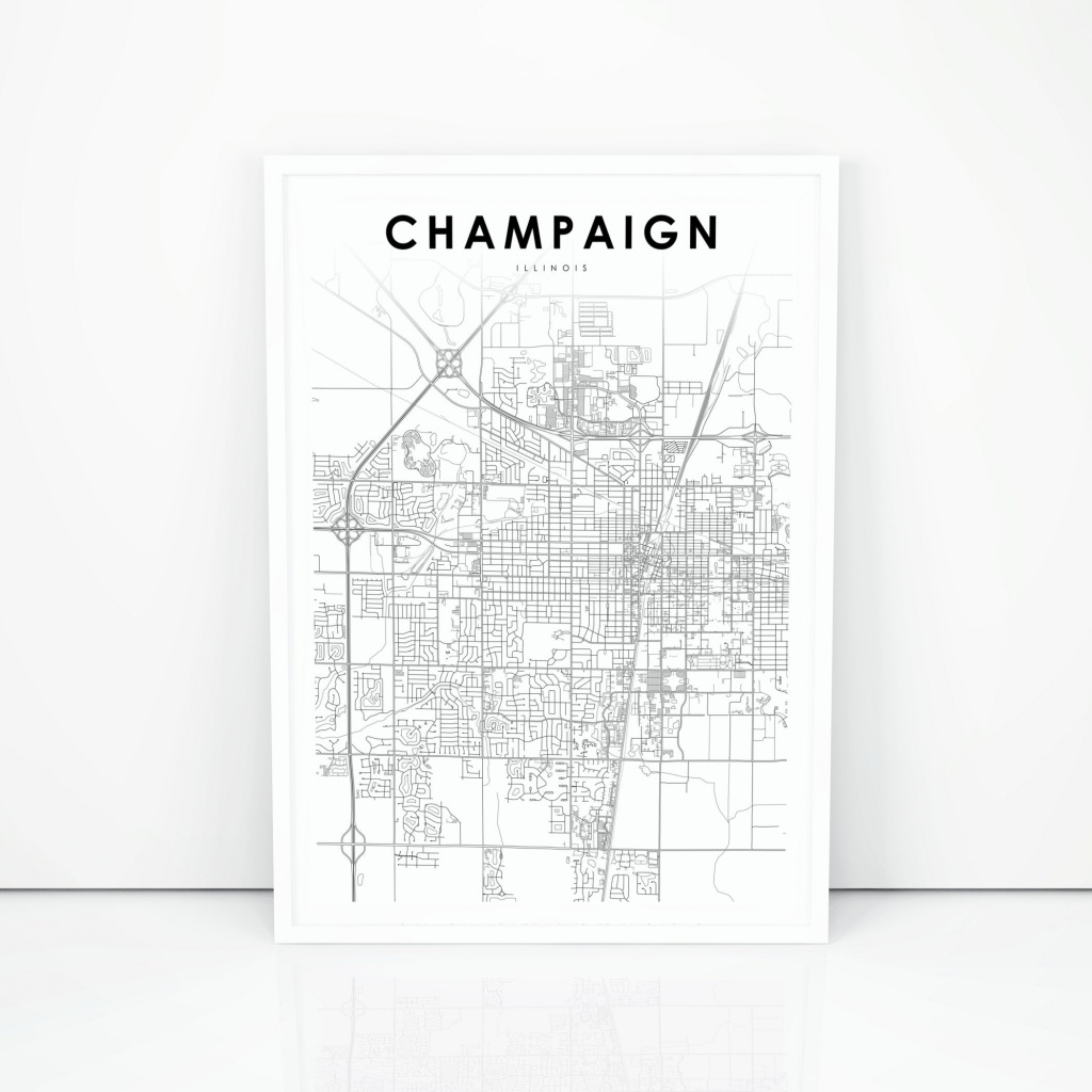 Champaign Map Print Illinois Il Usa Map Art Poster City   Etsy - Printable Map Of Champaign Il