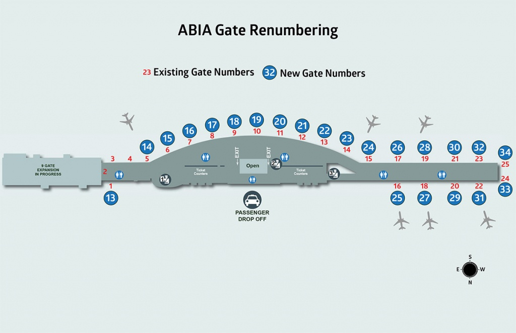 Changing Our Numbers; Gate 25 Now Gate 34, More Renumbering To Come - Austin Texas Airport Terminal Map