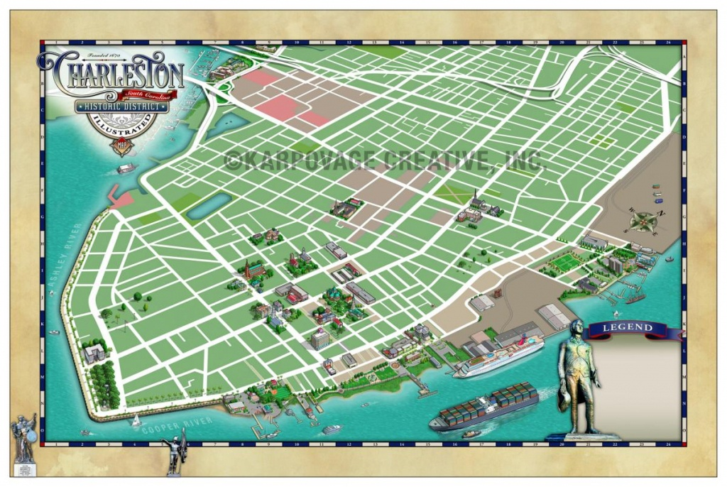 Charleston Historic District Illustrated Map - Map Gallery - Cartotalk - Printable Map Of Charleston Sc Historic District