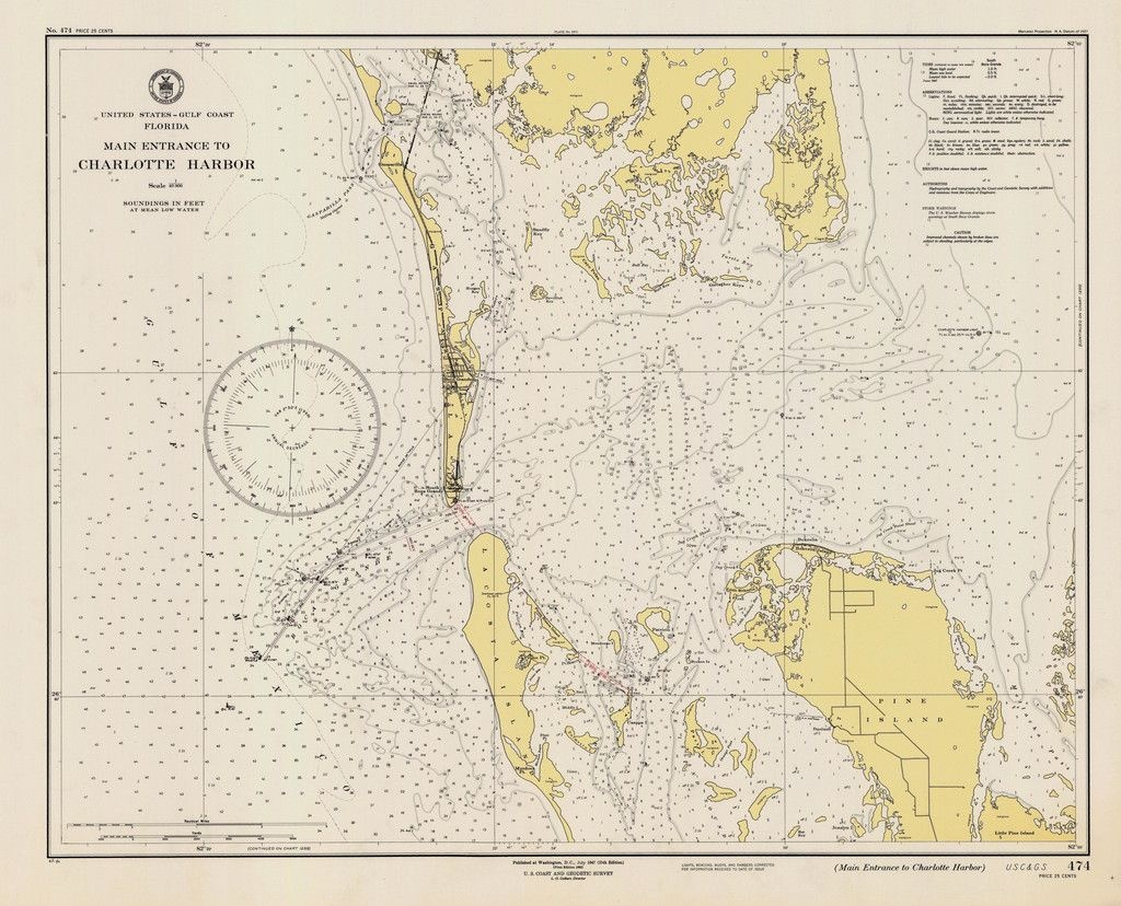Charlotte Harbor Florida Map - 1947 | Florida & Gulf Of Mexico - Charlotte Harbor Florida Map