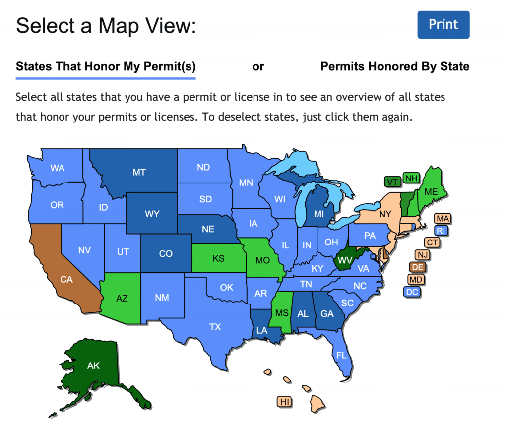 Check Out The New Concealed Carry Maps - Usa Carry - Texas Concealed Carry States Map