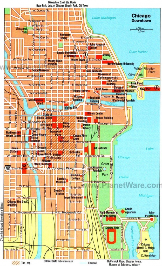 Chicago Downtown Map - Tourist Attractions | Chicago Year Round In - Printable Street Map Of Downtown Chicago