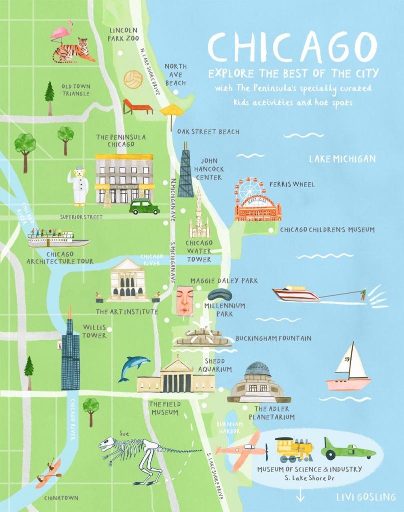 Chicago Illustration. Australian Traveller - Livi Gosling - Chicago Tourist Map Printable