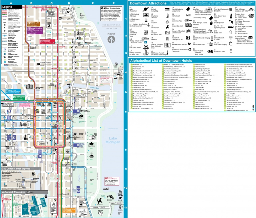 Chicago Loop Hotels And Tourist Attractions Map - Chicago Loop Map Printable