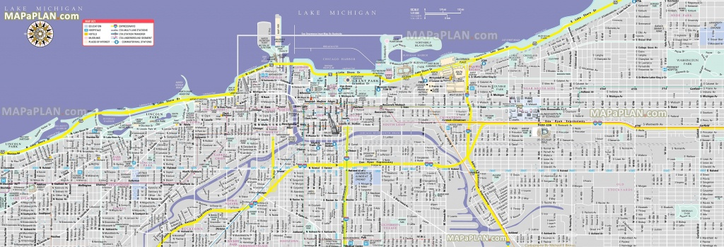 Chicago Maps - Top Tourist Attractions - Free, Printable City Street Map - Printable Map Of Downtown Chicago Streets