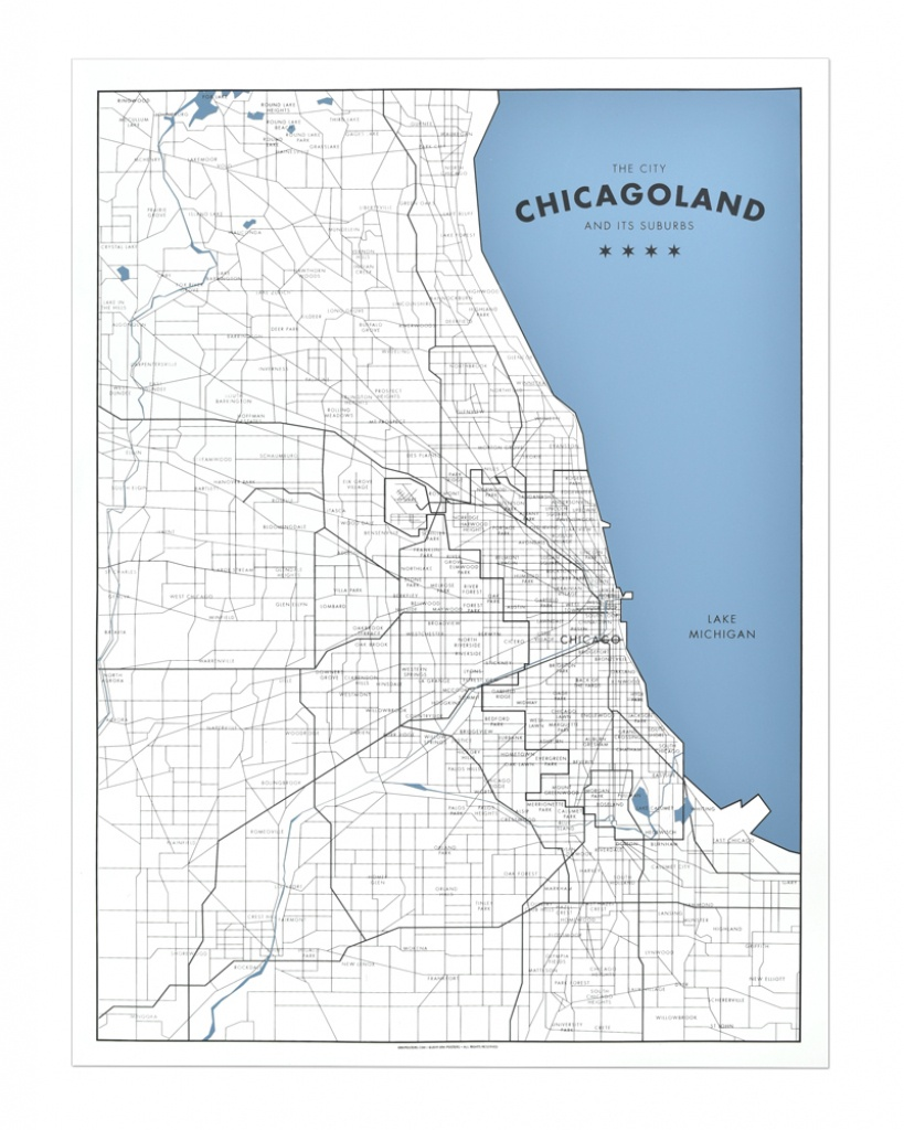 """Chicagoland - A Map Of Chicago And Its Suburbs 18"""" X 24"""" Screen Print - Printable Map Of Chicago Suburbs"""