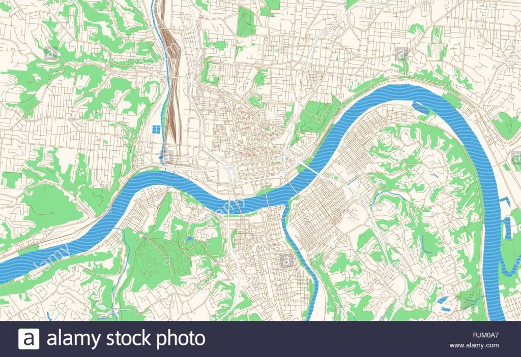 Cincinnati Ohio Printable Map Excerpt. This Vector Streetmap Of - Printable Cincinnati Map