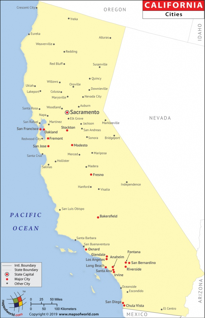 Cities In California, California Cities Map - Map Of California Showing Cities