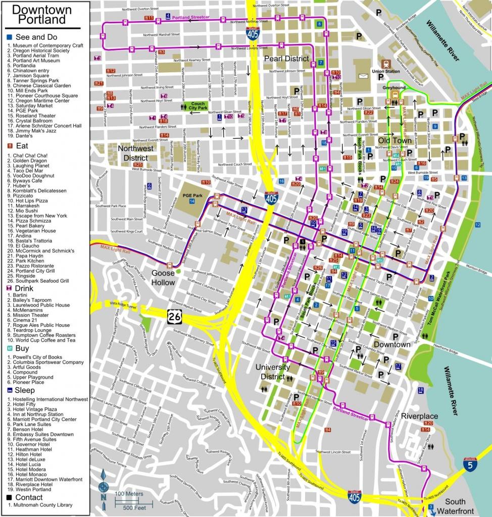 City Map Of Portland Oregon - City Map Portland Oregon (Oregon - Usa) - Printable Map Of Portland Oregon