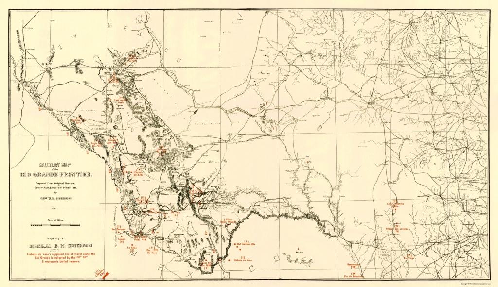 Civil War Map - Military Map Of Rio Grande Frontier 1883 - Texas Civil War Map