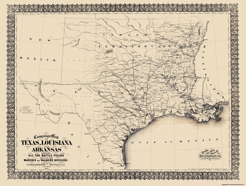 Civil War Map - Texas, Louisiana, & Arkansas 1871 - Map Of Texas And Arkansas