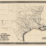 Civil War Map   Texas, Louisiana, & Arkansas 1871   Texas Louisiana Border Map