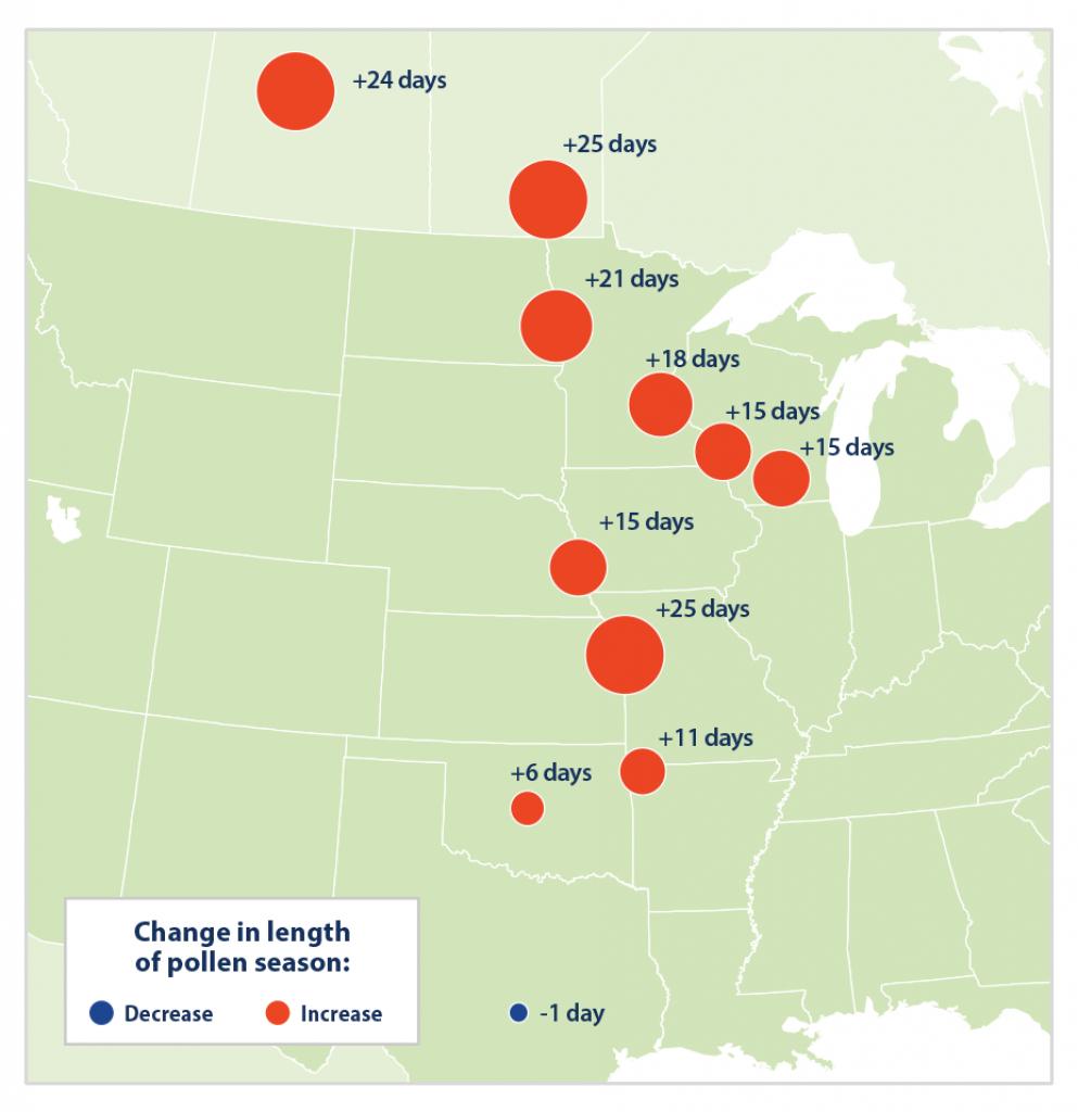 Climate Change Indicators: Ragweed Pollen Season | Climate Change - Pollen Map Texas
