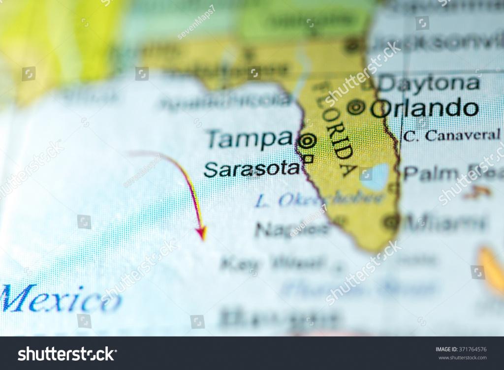 Closeup Sarasota Florida On Political Map Stock Photo (Edit Now - Map Sarasota Florida Usa