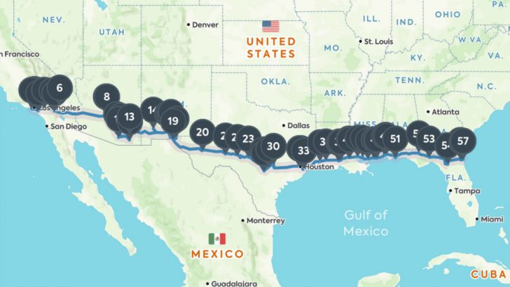 California To Florida Road Trip Map