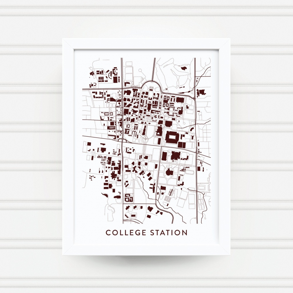 College Station Tx Map Print / Texas A&m University Gifts / | Etsy - College Station Texas Map