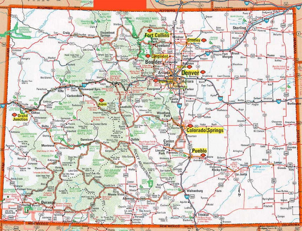 Colorado Map   Frida   Map, Colorado, State Map - Printable Map Of Colorado Springs