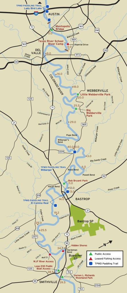 Colorado River Fishing Access - Texas Fishing Maps