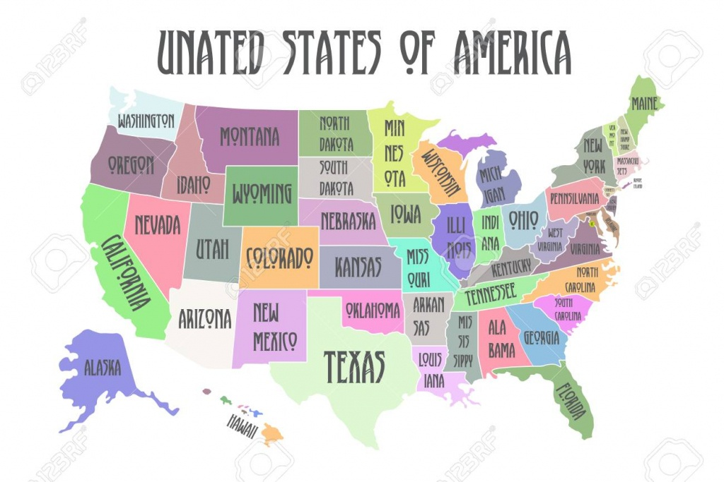 Colored Poster Map Of United States Of America With State Names - Printable Map Of The United States With State Names