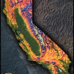 Colorful California Map | Topographical Physical Landscape   California Topographic Map