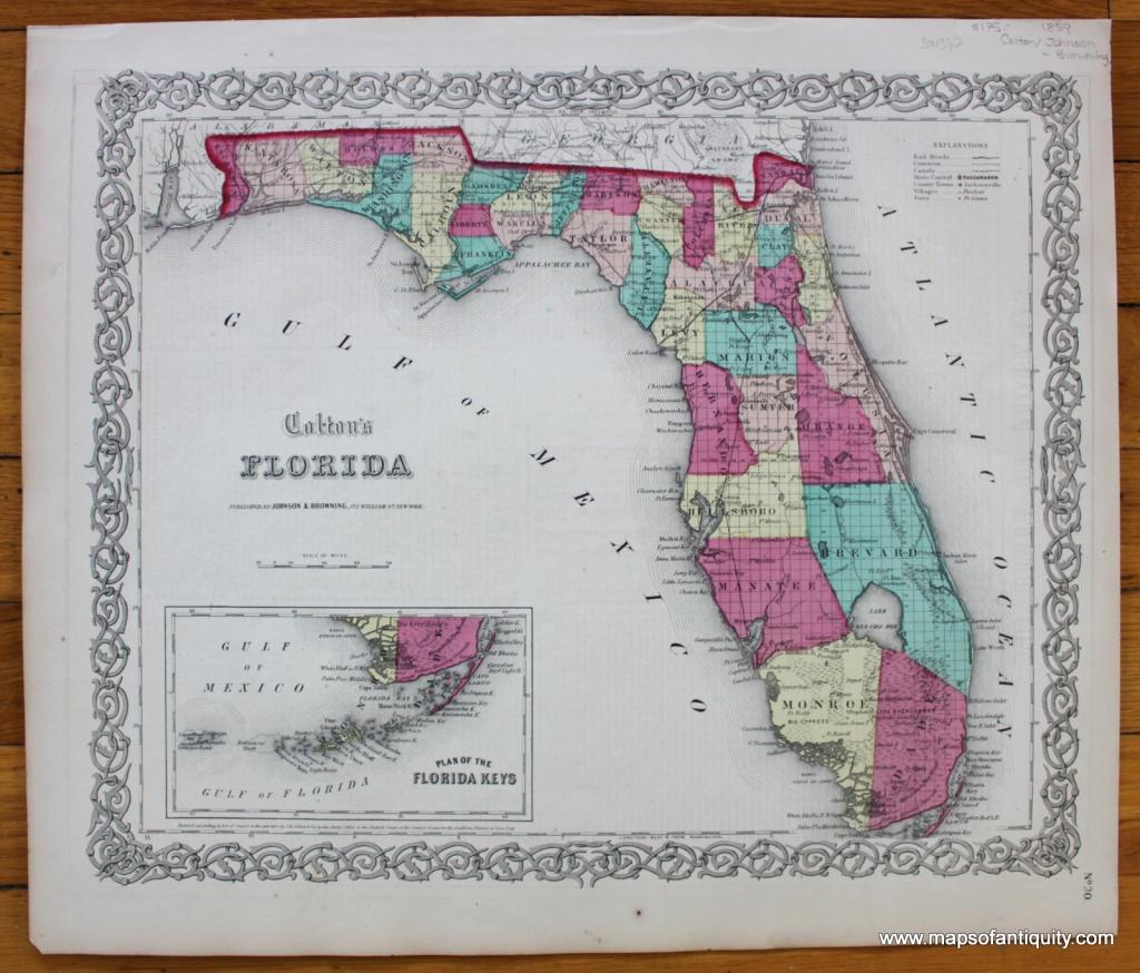 Colton's Florida *****sold***** - Antique Maps And Charts – Original - Vintage Florida Maps For Sale