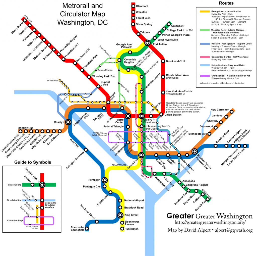 Combine The Circulator And Metro Maps For Visitors – Greater Greater - Printable Dc Metro Map