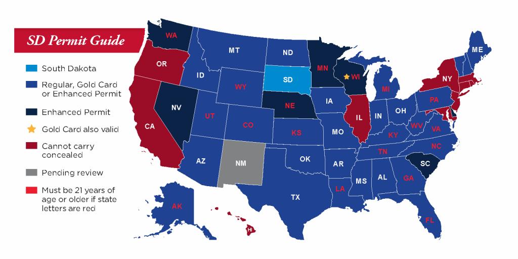 Concealed Pistol Permits: South Dakota Secretary Of State - Florida Ccw Reciprocity Map 2018