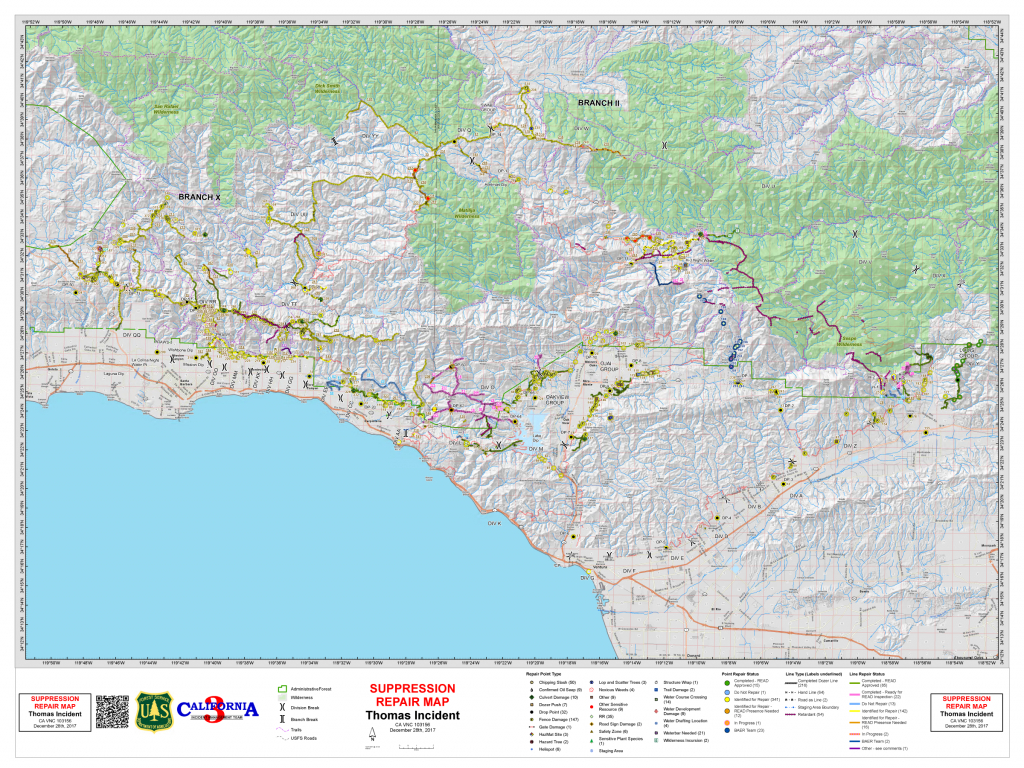 Containment Up To 91% On Thomas Fire | Kclu - Map Of Thomas Fire In California