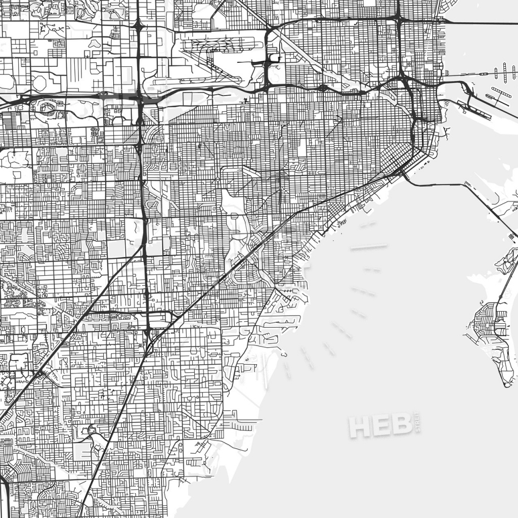 Coral Gables, Florida - Area Map - Light | Hebstreits Sketches - Coral Gables Florida Map