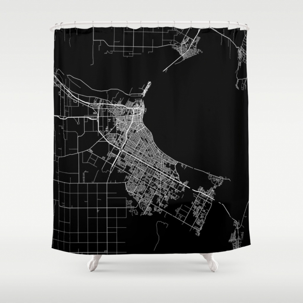Corpus Christi Map Texas Shower Curtainlinelinelines | Society6 - Texas Map Shower Curtain