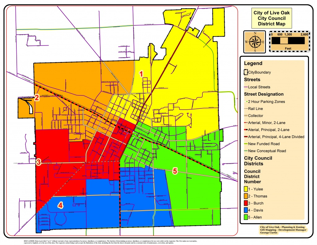 Council District Map - City Of Live Oak - Florida City Gas Coverage Map