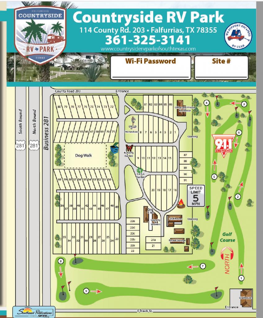 Countryside Rv Park Of South Texas - Falfurrias, Tx - South Texas Rv Parks Map