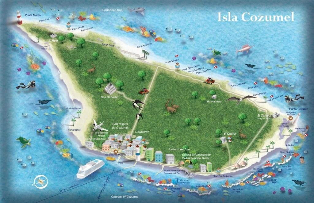Cozumel Tourist Map - Printable Map Of Cozumel Mexico