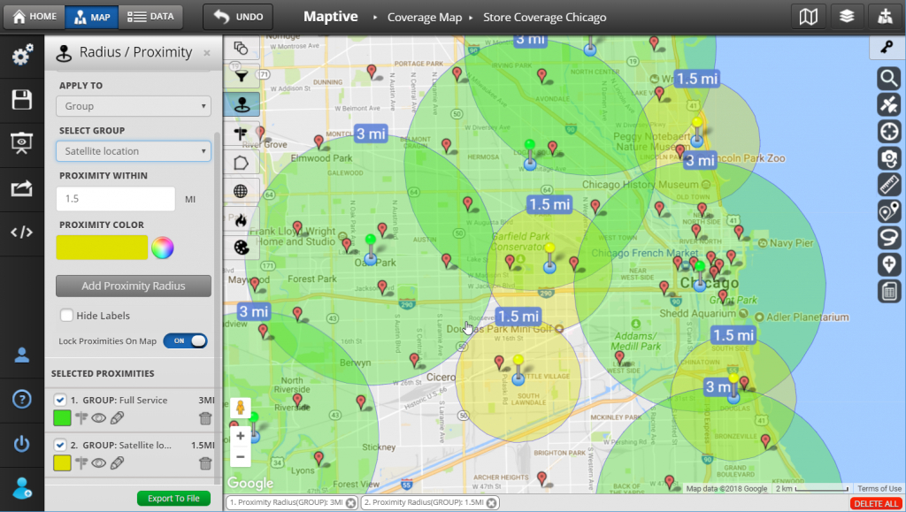 Create Custom Maps For Presentations - Maptive - Make A Printable Map With Multiple Locations